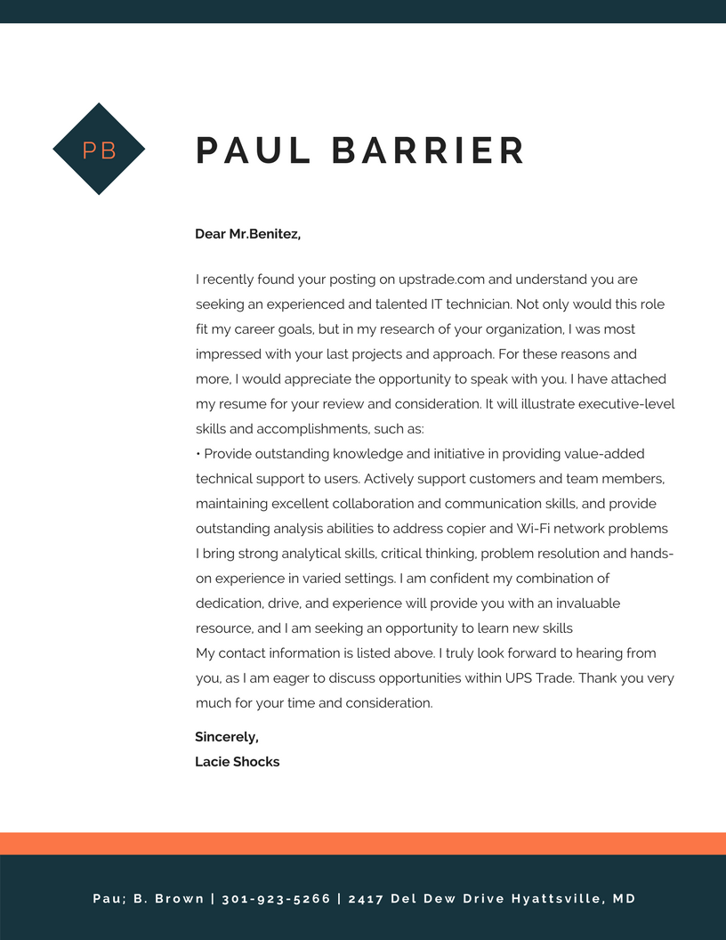 sample cover letter layout