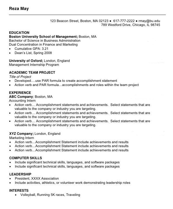 Education student cv
