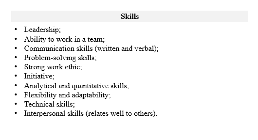 Undergraduate CV skills