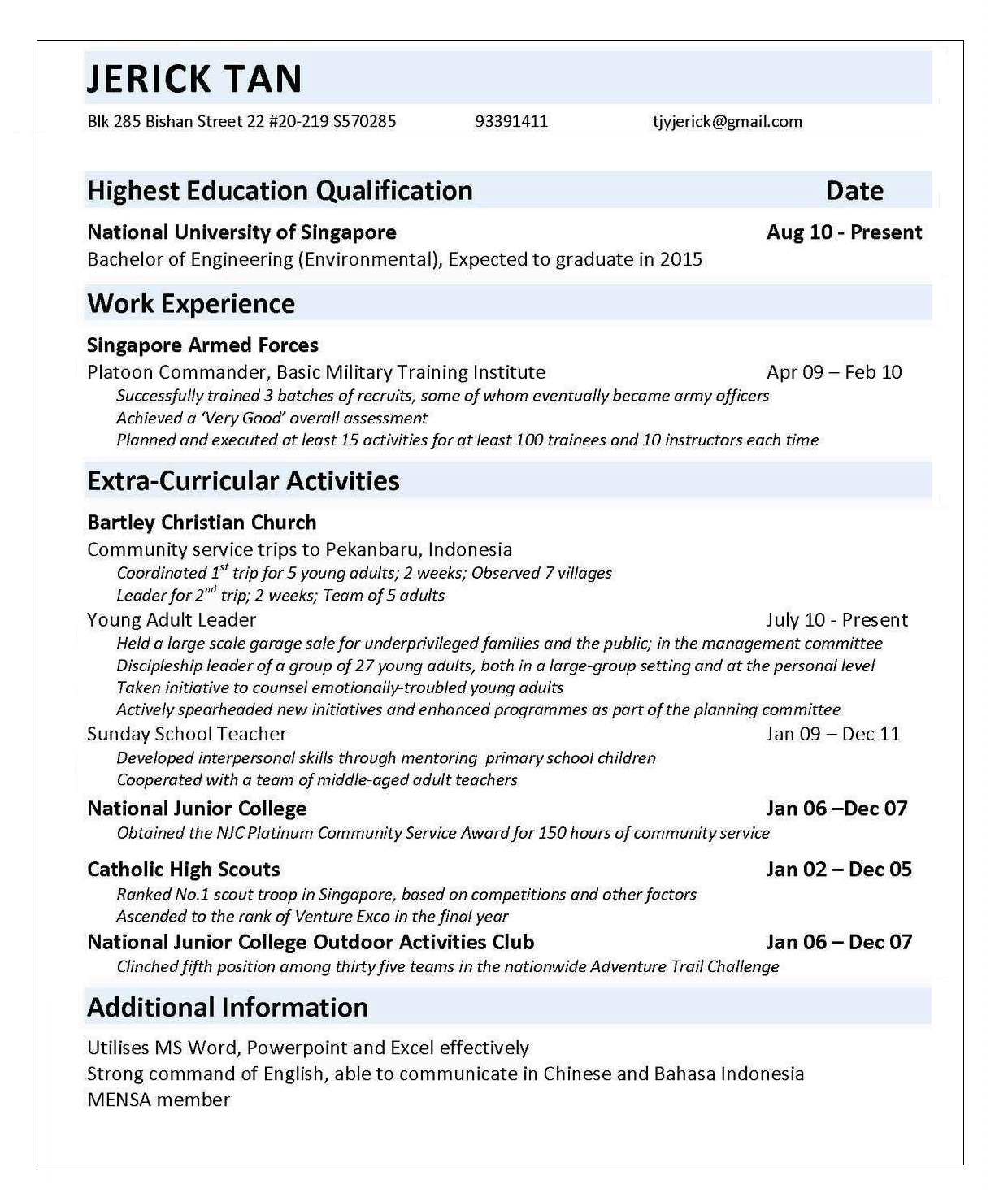 sample engineer cv